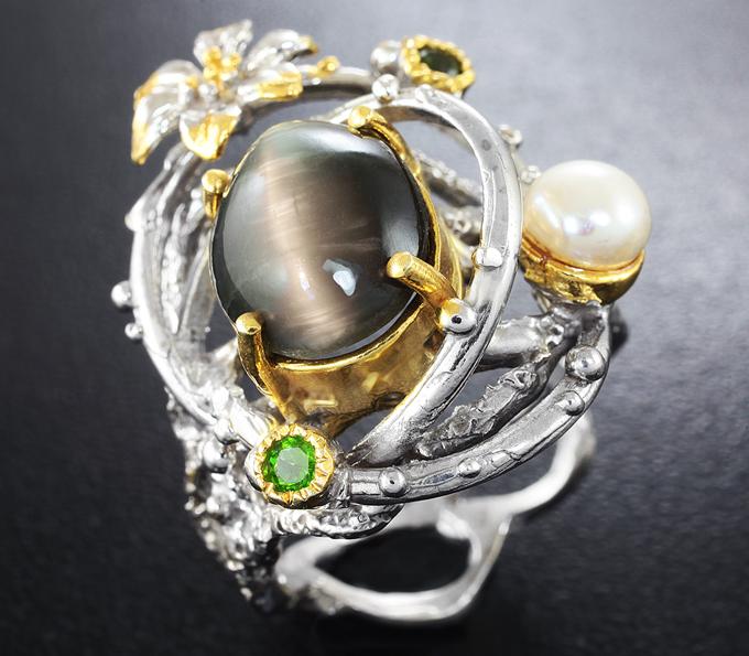 Кольцо со скаполитом натуральным