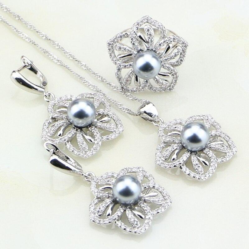 Набор из серебра с натуральными камнями